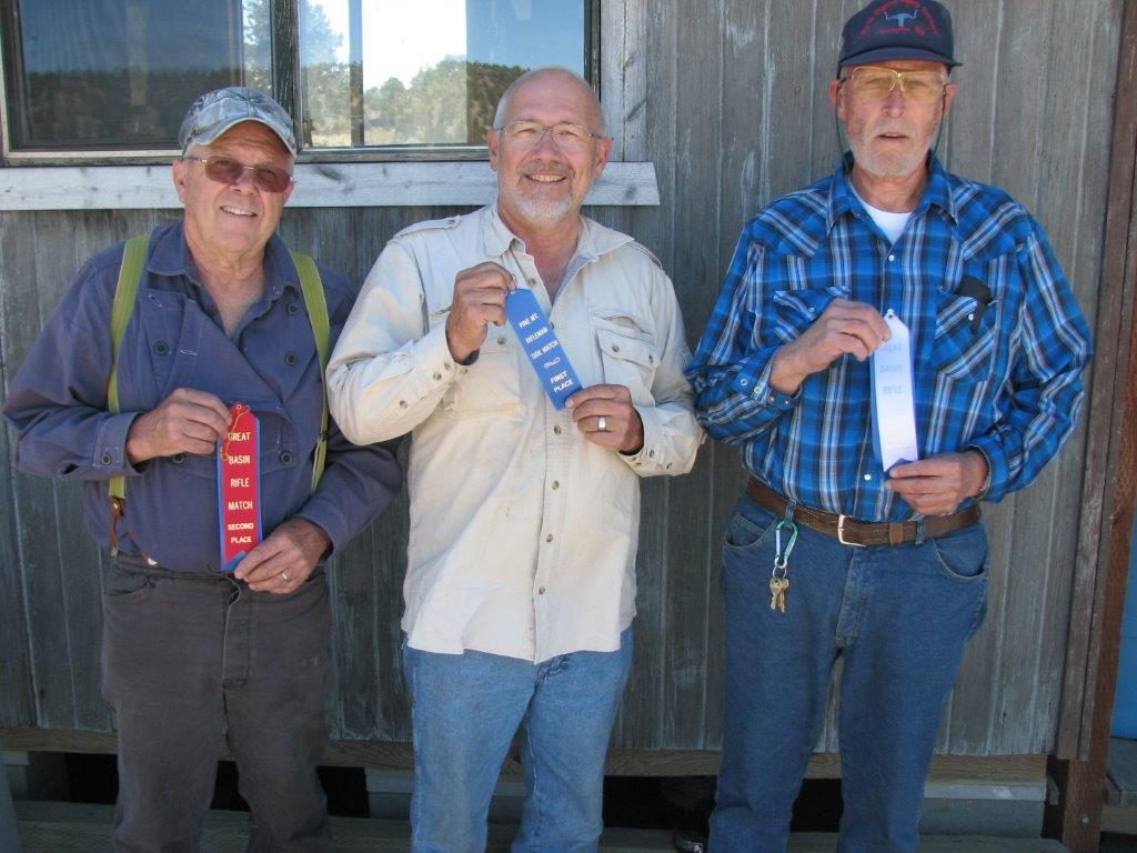 July Military Bolt Match Winners L to R Tom, Skip, Doc