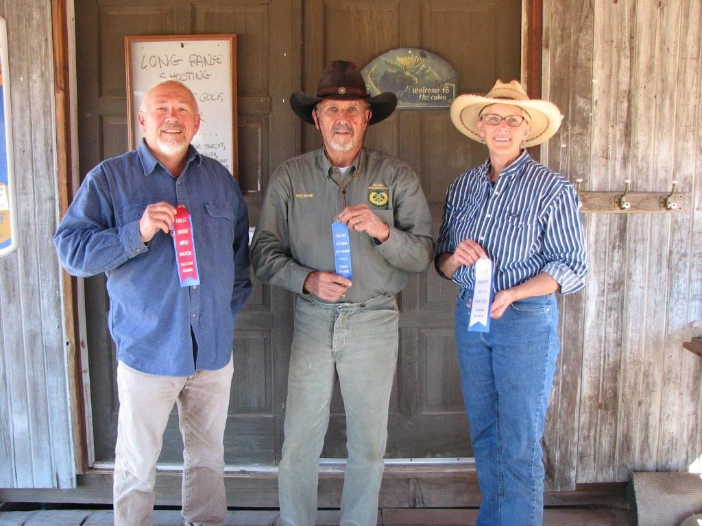 September Big Bore Lever Gun Match winners L to R: Skip 2nd, Brownie 1st, Chris 3rd