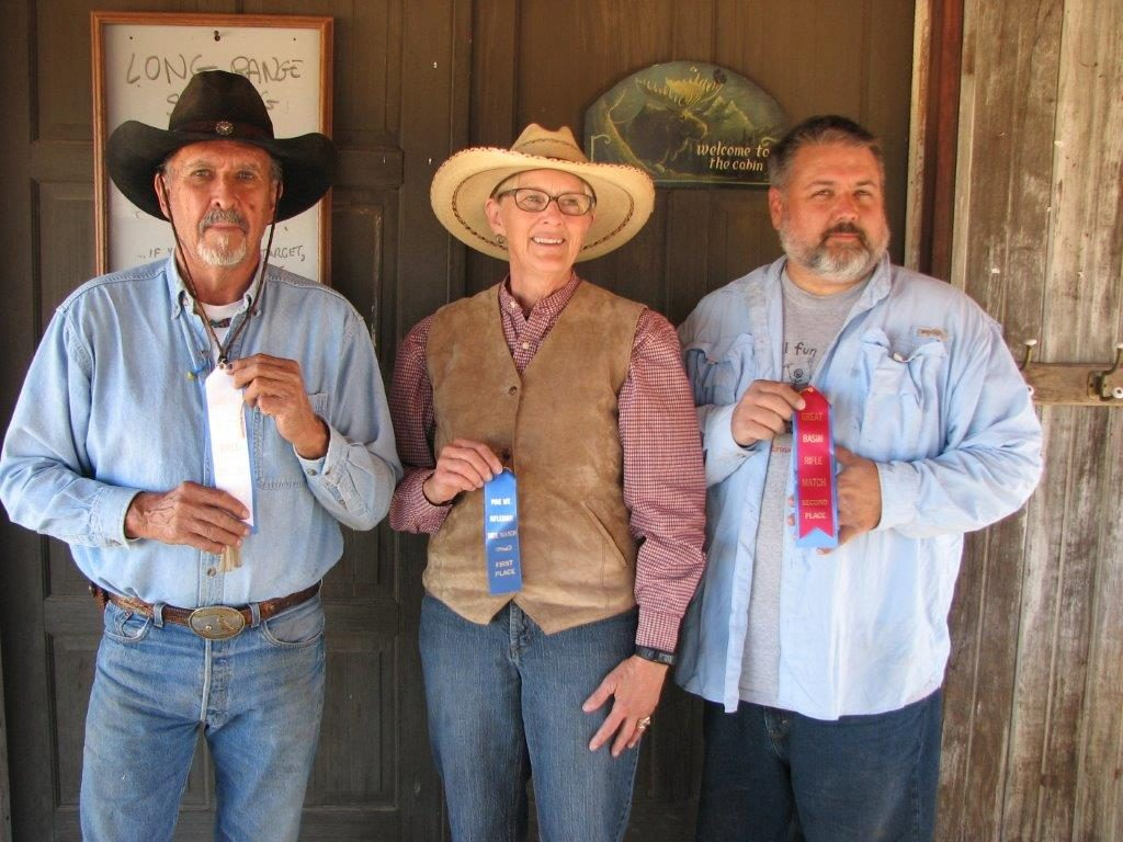 September Big Bore Lever Match winners L to R: Brownie 3rd, Chris 1st, Dan 2nd