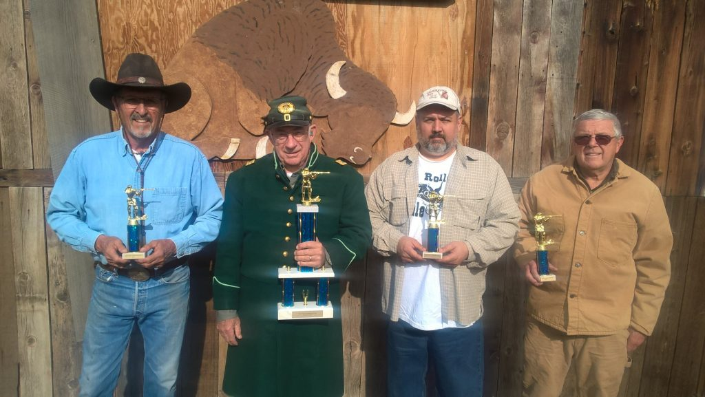 2016 High Score Trophy winners L to R: Brownie for Pistol Caliber Lever Gun and Quarter Bore, Bert for Buffalo, Dan for Mid Range and 22, Tommy for Military Bolt (not pictured Skip for Big Bore Lever Gun and Simon for Military Single Shot)
